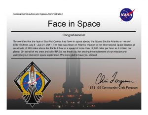 NASA Face in Space certificate